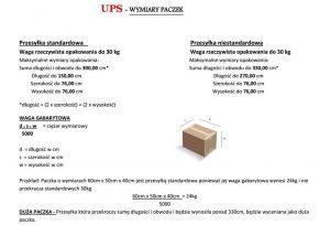 UPS - wymiary paczek